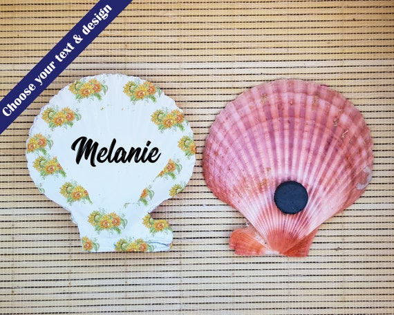 Name Places on shells , Sunflower Wedding, Name PLace Settings, Wedding Table Decoration, Party Guest Names, ustic Wedding Decor,
