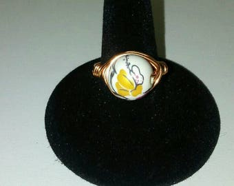 Size 8 Floral Bead Copper Ring