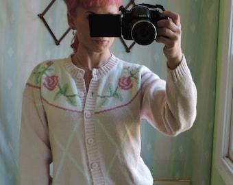 Vintage Cardigan floral design