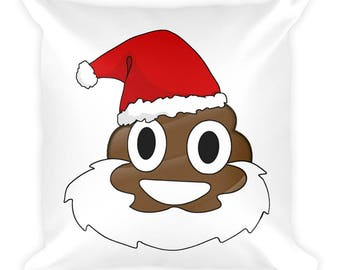christmas poop emoji pillow santa poop emoji poop emoji gifts santa claus pillow christmas pillows funny christmas pillow funny christmas gi - Christmas Poop