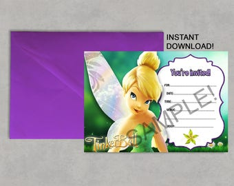 Tinkerbell invitation etsy tinkerbell inspired printable birthday invitation diy blank fill it in yourself instant download jpeg pdf no waiting 5x7 solutioingenieria Choice Image