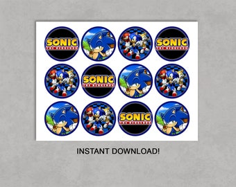 Sonic the Hedgehog Inspired Cupcake Toppers Printable Birthday DIY Decorations INSTANT DOWNLOAD Jpeg Pdf No waiting! 2.5 inch