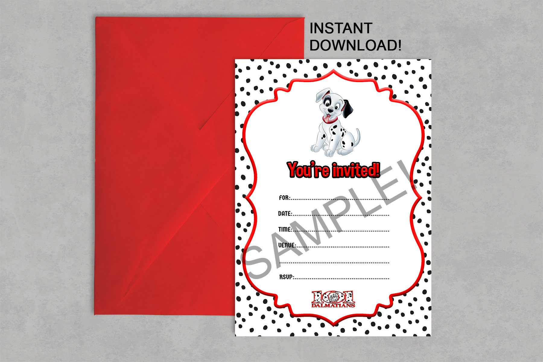 101 Dalmatians Inspired Printable Birthday Invitation DIY | Etsy