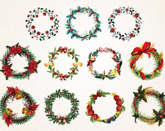 11 x Christmas Floral Wreath Collection Clipart/Christmas Frame Clipart/svg file,png 300 ppi,jpg/Digital Clipart