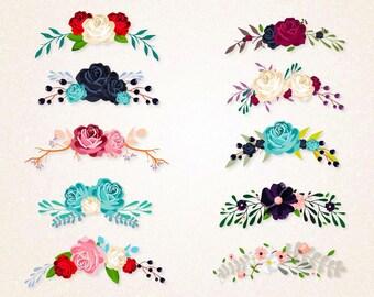 Floral Bouquets Clipart/Flowers SVG,PNG 300 ppi/Floral Arrangement/Floral Decpration/Wedding Decoration/printable/circuit file/digital