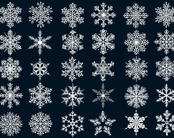 30 x White Snowflakes Clipart/Christmas Clipart/Winter Clipart/Snow/Snowflakes SVG,PNG 300 ppi,eps/Instant Download