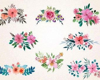 watercolor flowers etsy