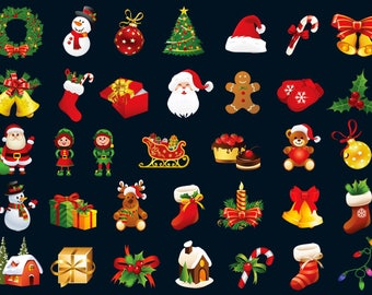 35 x Christmas Elements Clipart/Christmas Tree /Christmas Gift Boxes/Holiday Clipart/Santa Clause Clipart/SVG,png 300 ppi,eps