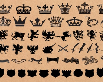 50 x Heraldic Elements Clipart/Heraldry Clipart/Crown Clipart/Medieval Clipart/Printable/SVG file,eps,jpg,png