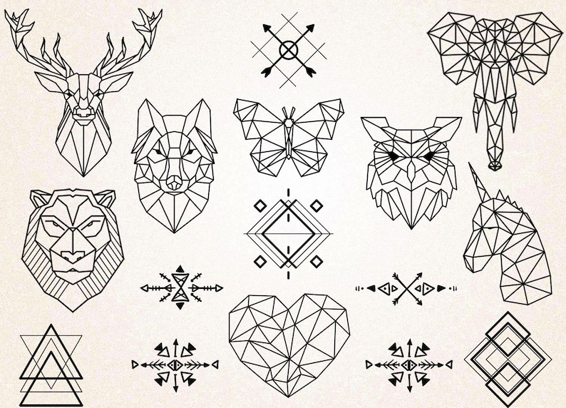 Geometric Tattoos Clipartgeometric Animals Clipartanimals Drawingtribal Symbolsgeometric Tattoo Svgpng 300ppijpgeps
