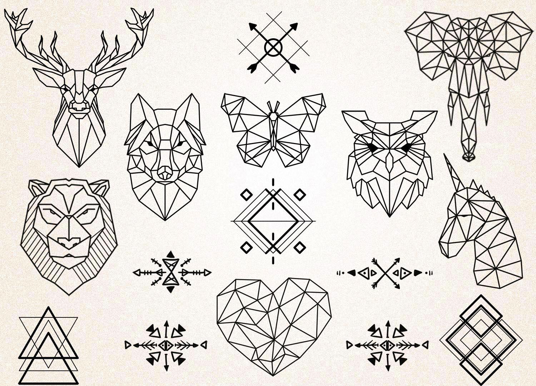 Geometrique Des Tatouages Clipart Geometrique Animaux Etsy