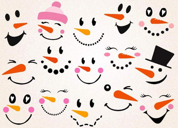 Snowman Faces Svg Snowman Face Printable Christmas Svg Etsy