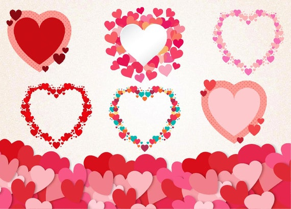 Heart Frames SVGPNG 300 ppi/Valentine\'s Day | Etsy