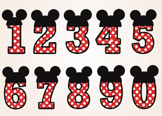 Mickey Mouse Numbers Clipart /Mickey Mouse Numbers SVGPNG ...