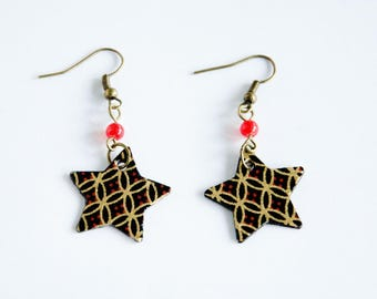 Red and black stars paper and red beads earrings