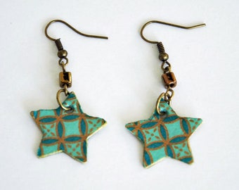 Turquoise and gold stars paper and gold beads earrings