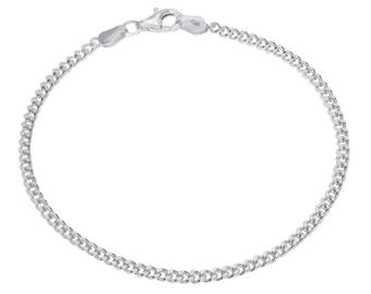 """Sterling Silver Curb Bracelet 2.4mm 6.5"""" 7"""" 7.5"""" inches"""