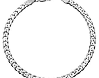 """Sterling Silver Curb Bracelet 4.3mm 7, 7.5, 8, 8.5, 9"""" inches"""