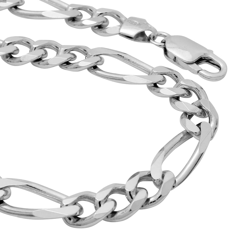 925 Sterling Silver Figaro 7.6mm Chain Necklace 22 24 26 28 30 inches