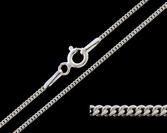 925 Sterling Silver Curb 1mm Chain Necklace 14 16 18 20 22 24 26 28 30 inches