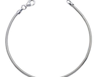 """Sterling Silver Real Snake Bracelet 1.9mm 6.5"""" 7"""" 7.5"""" inches"""