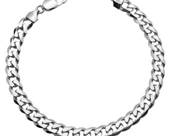"""Sterling Silver Curb Bracelet 7.3mm 8, 8.5, 9"""" inches"""