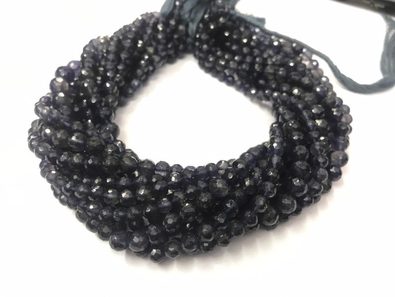 Natural Iolite Faceted Round Beads   Round Iolite Beads   Iolite Ball   Iolite Round Beads  6-6.5mm Faceted Iolite Bead   Violet Blue Beads