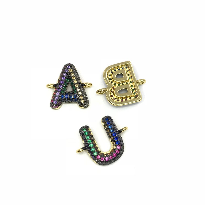 Hip-pop rainbow pave cz initials connector