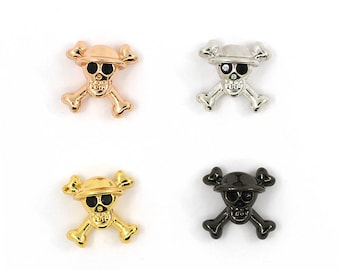 One piece skull spacer 13*13*8mm. copper skull charms with cz. cool skull beads.
