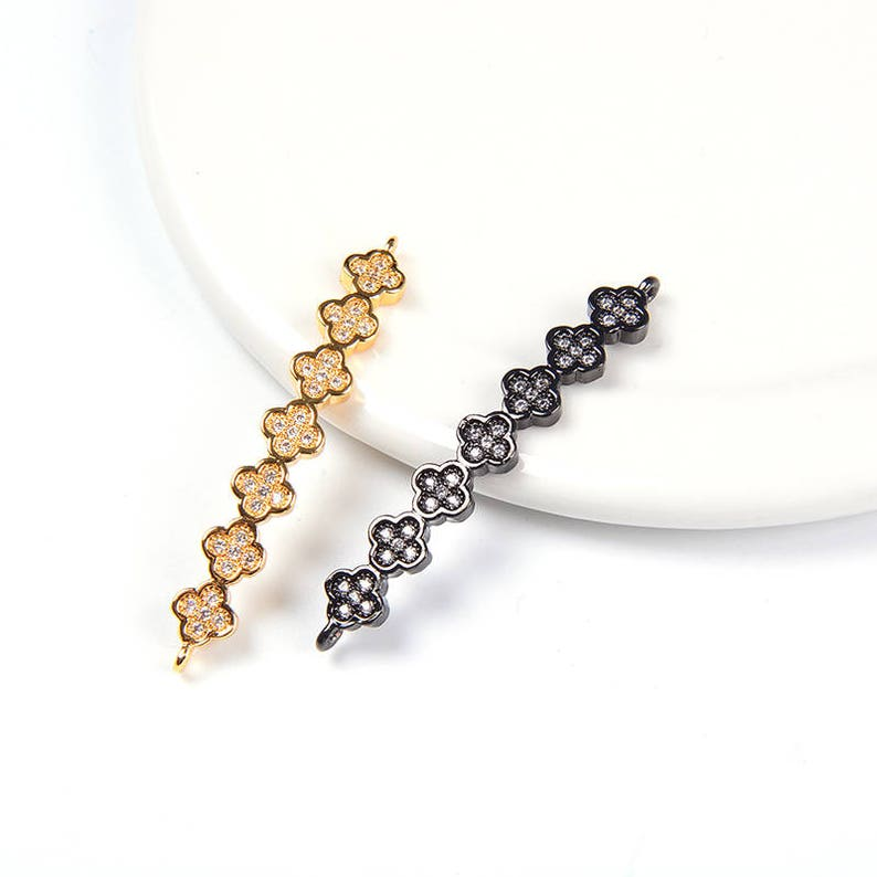 2 Pcs Clover Curved Bead 5*41*2mm Micro Pave Curved Bar Arch Charms Clear CZ Micro Pave Connectors Cubic Zirconia Clover Charms
