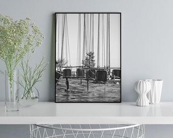 Amusement Park//amusement park//Barcelona//Tibidabo//Black and white//photography//print//office Decor