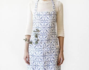 Mosaic Linen Kitchen Apron with Pockets / Printed Apron / Linen Apron /  Kitchen Apron / Immediate Shipping!