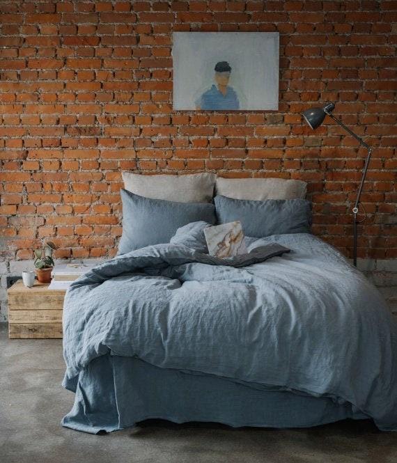 Literie en lin doux en bleu denim clair, housse de couette en lin et taie d'oreiller en lin, draps de lit Loft.