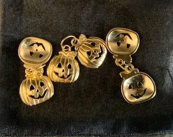Halloween Pumpkin Charms -  Pumpkin Charms - Gold Plated Charms - Gold Pumpkin Charms