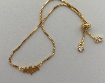 Bat#Halloween Bracelet Bat Bracelet #Tiny#Bat#Bracelet#Gold#Bolo Adjustable