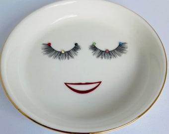 Jewelry Ring Dish for your Jewelry, Gift, Ceramic Lightweight, Glossy Finish,  Vinyl Design, Rhinestones