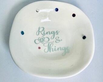 Personalized Trinket Dish for your Jewelry, Gift, Ceramic, Glossy Finish, Custom Vinyl Design, Rhinestones, Engagement Jewelry Dish, Wedding
