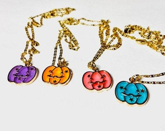 Necklace #Halloween #PUMPKIN #Different colors #Pink #Purple #Blue #Orange