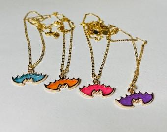 Necklace #Halloween #Bat #Different colors #Pink #Purple #Blue #Orange