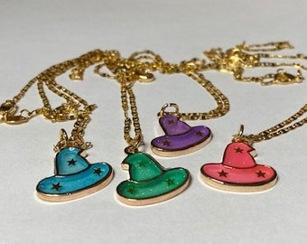 Necklace #Halloween #Witch Hat #Different colors #Pink #Purple #Blue #Green