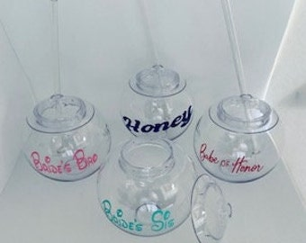 Personalized Tumbler with Straw, Clear Tumbler, Bridesmaid, Brides Sis, Brides Bro,