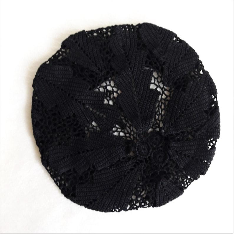 evening beret for lady cotton beret irish lace leaves beanie sun hat summerspring Black crochet hat for women voluminous summer hat