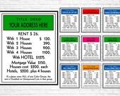 Custom Board Game Property Card Title Deed Design DIGITAL ART FILE Housewarming Gift, Classic Board Game Prints, Game Room Decor