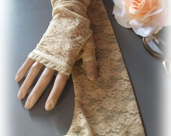 47c505661 Ivory long lace mittens
