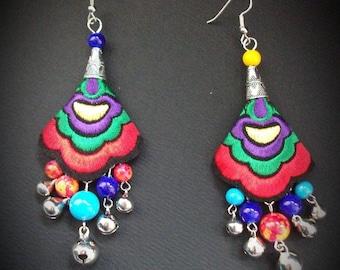 Ethnic earrings, embroidered earrings,Hmong fabrics,bells earrings, multicolored earrings,bohemian earrings,rainbow jewelry,rainbow earrings