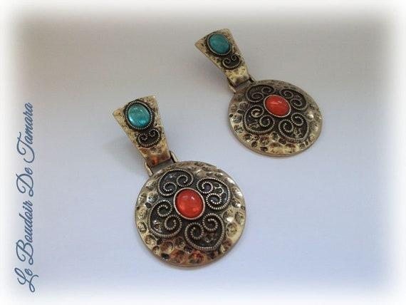 Hammered Brass Art Deco Earrings, Art Deco Jewelry