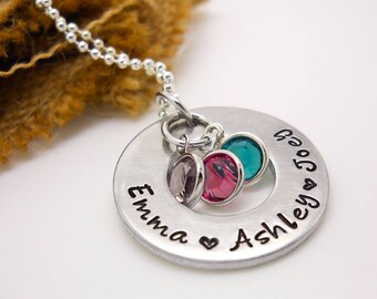 Personalized Mom Necklace, Mother's Personalized Necklace, hand stamped Kids Names Necklace, custom jewelry, Mother's Day gift for mom