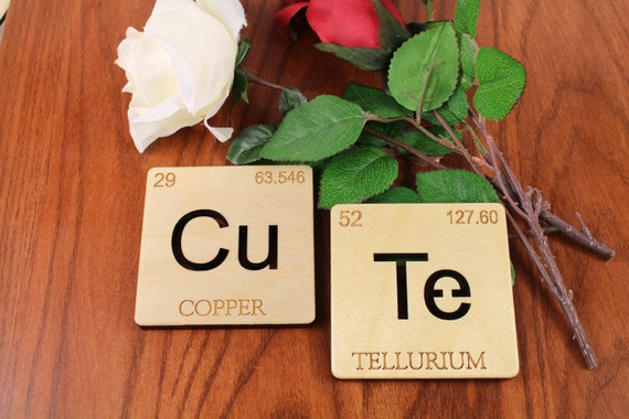Cute Coasters Periodic Table Of Elements Cu And Te Science Etsy