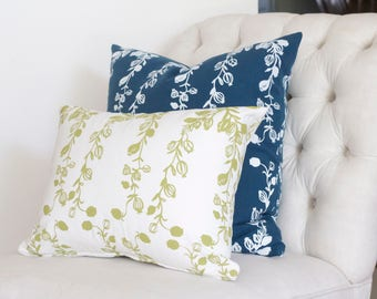 Pillows | Poppy garland pattern in white+blue and green+white | interior decoration