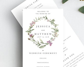 Floral Wedding Ceremony Program Template Wedding Program Printable Green Leaf Wedding Template Wedding Ceremony Edit Yourself